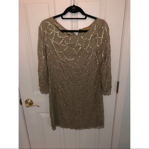 Alice + Olivia Lined Golden Beaded with Sleeves